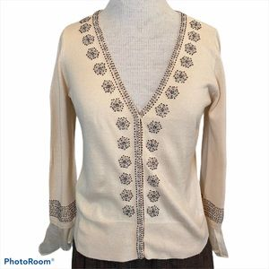 Nic +Zoe Beaded Cardigan Ivory Medium